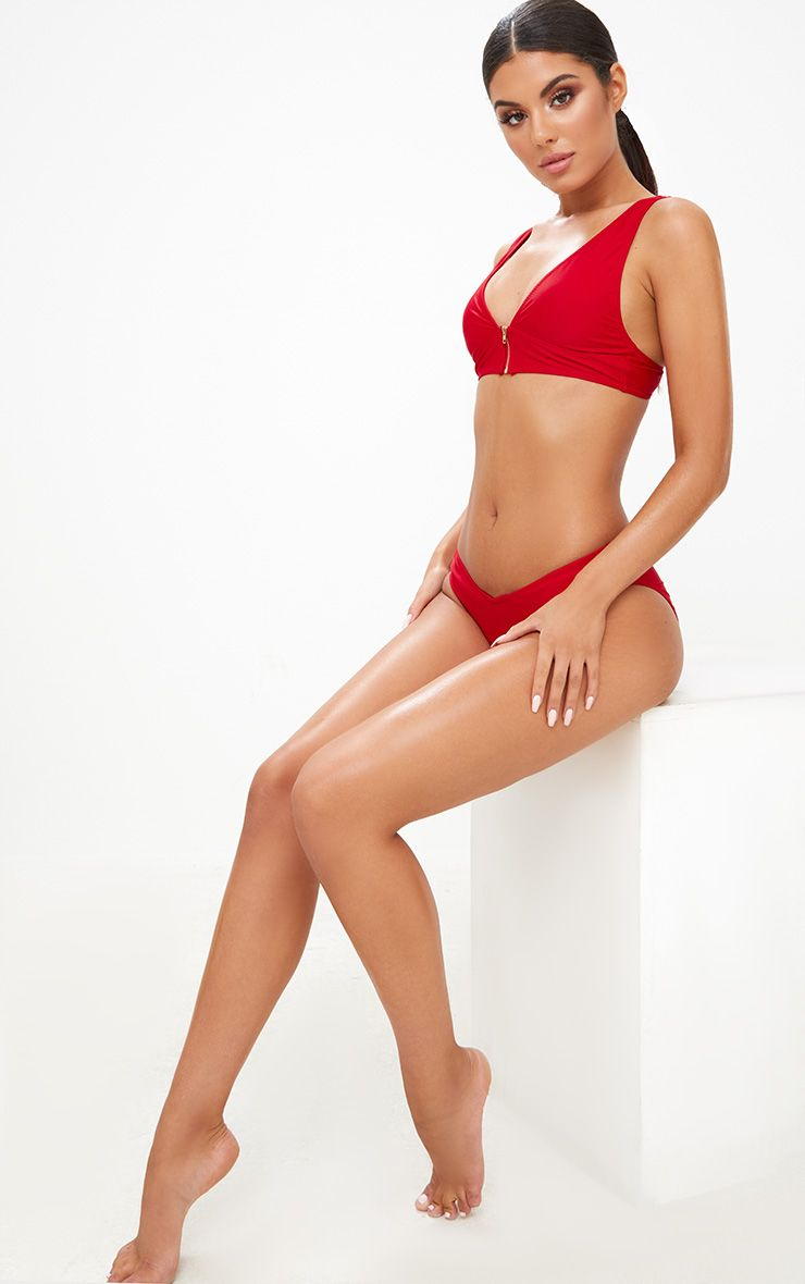 Red Front Sports Plunge Bikini Top