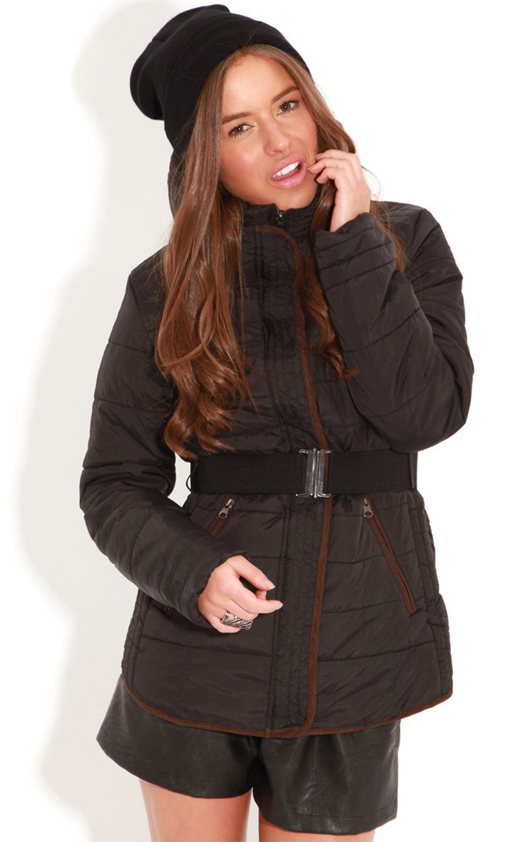 Connie Black Padded Coat With Belt 1