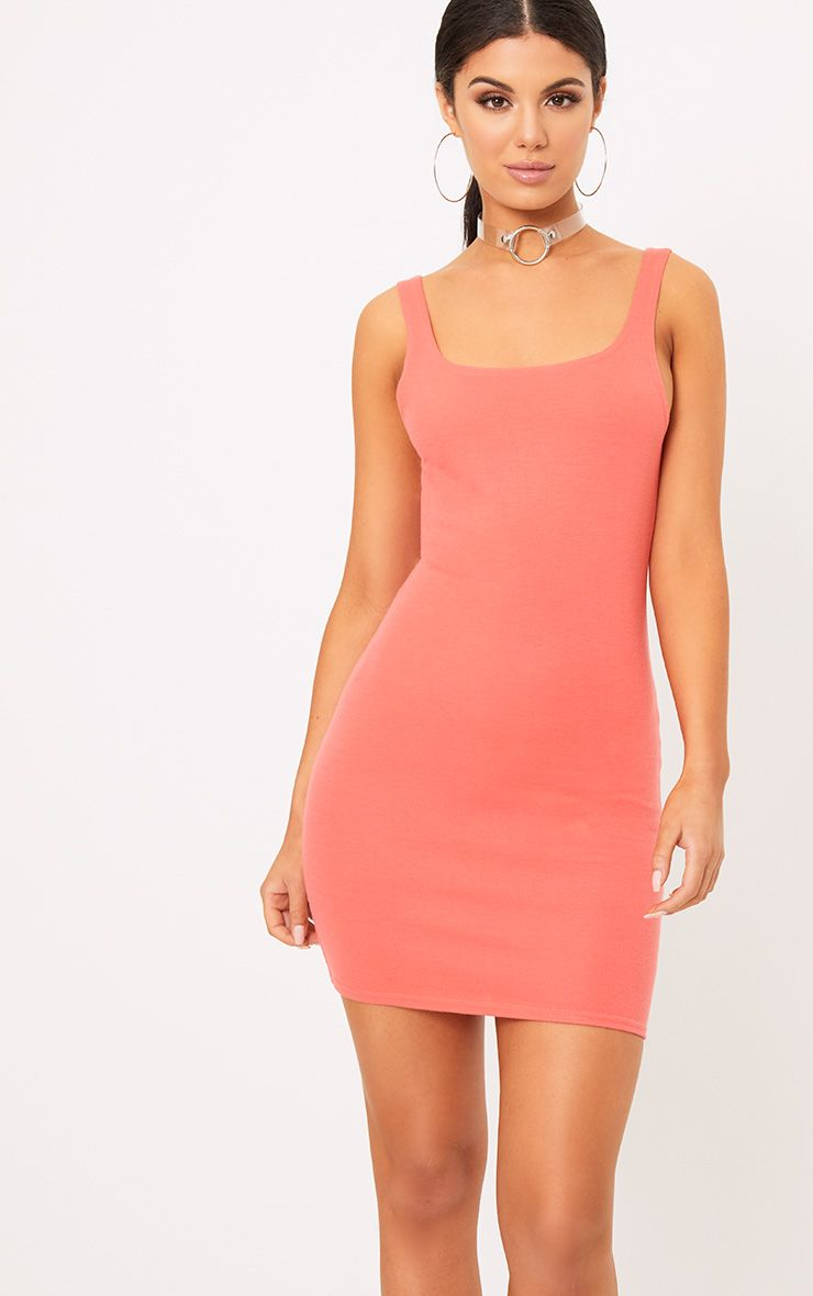 Carolin Coral Scoop Neck Bodycon Dress