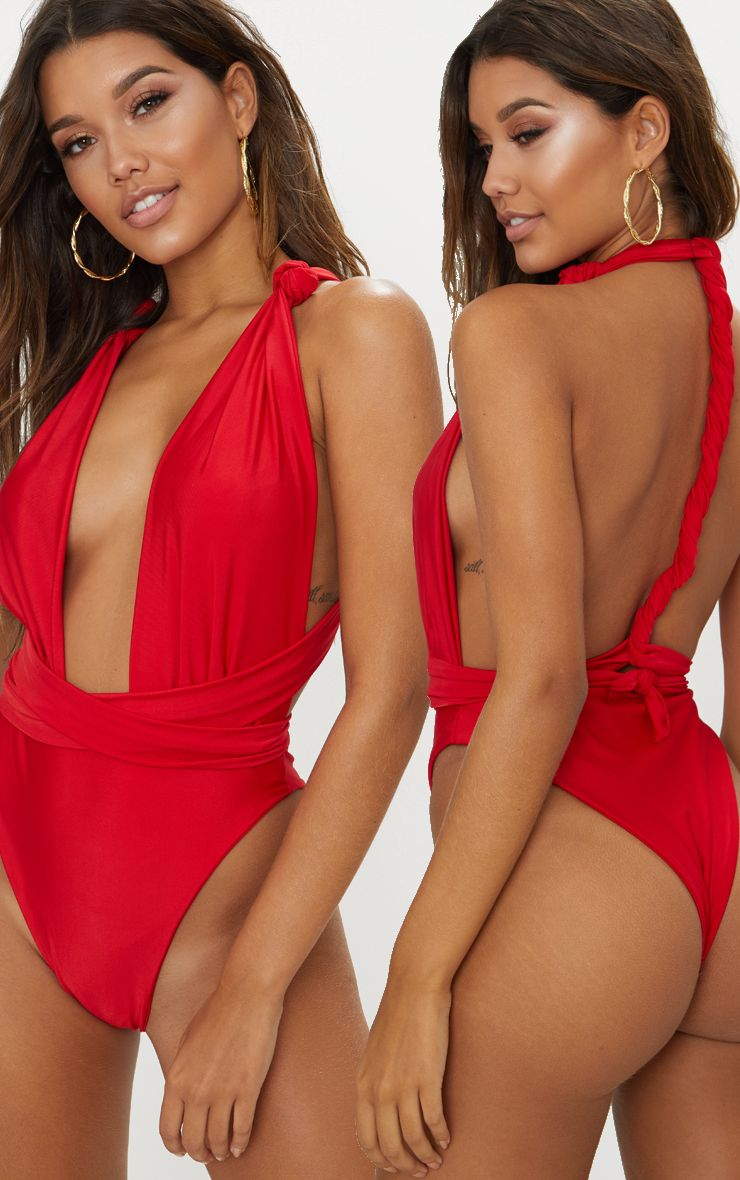 Red Knotted Wrap Swimsuit