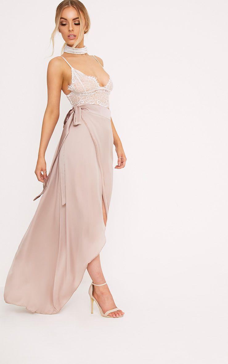 Sorella Mink Satin Wrap Maxi Skirt