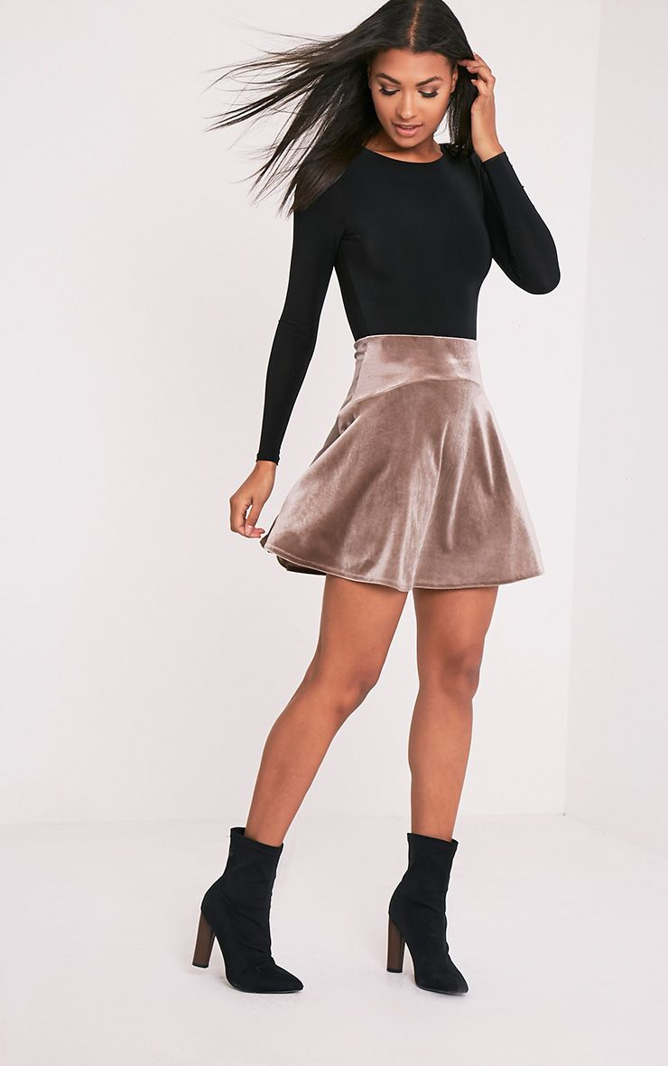 Lindy Champagne Velvet Skater Mini Skirt 1