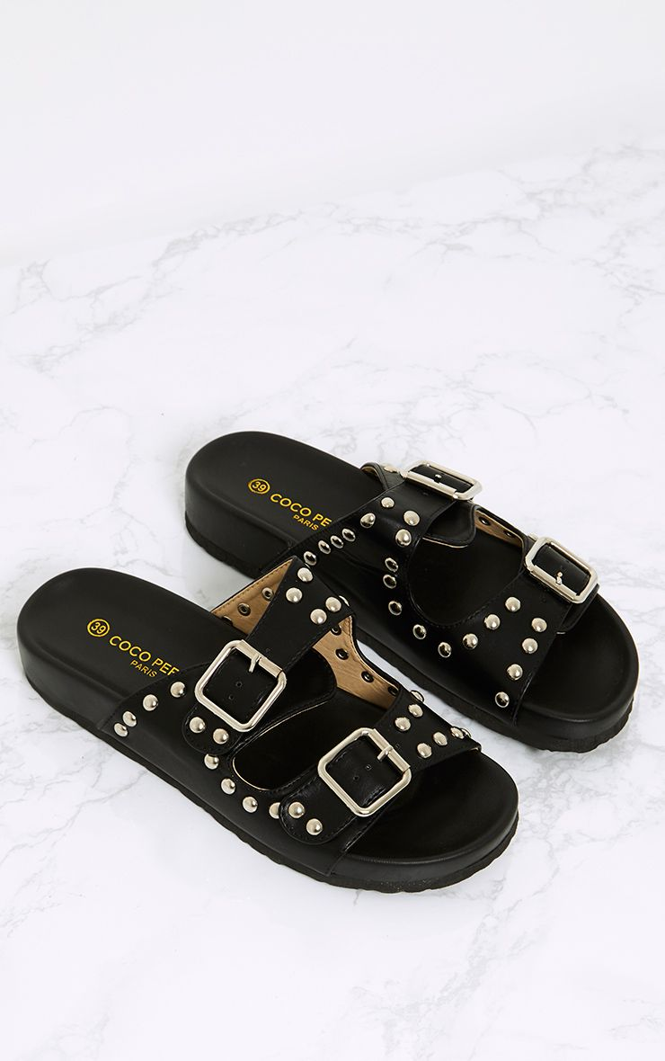 Philipa Black Studded Strap Sliders