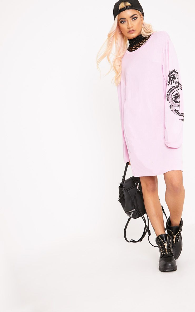 Dragon Pink Print T Shirt Dress