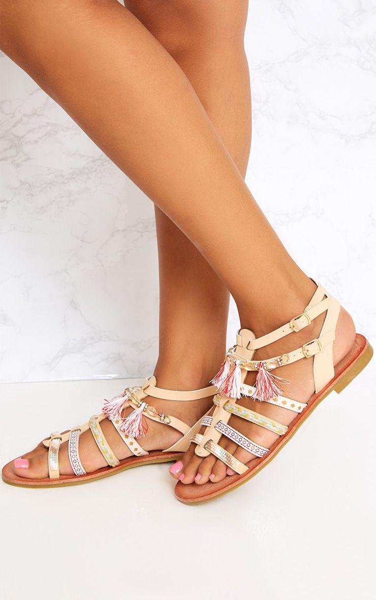 Beige Embellished Gladiator Sandals