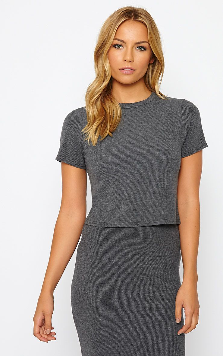 Basic Charcoal Short Sleeve Crop Top 1
