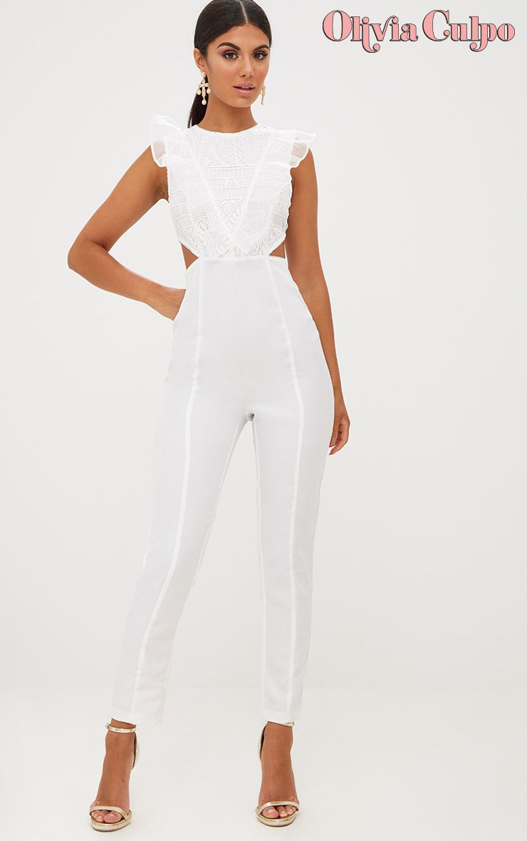 White Mesh Shoulder Cut Out Detail Jumpsuit