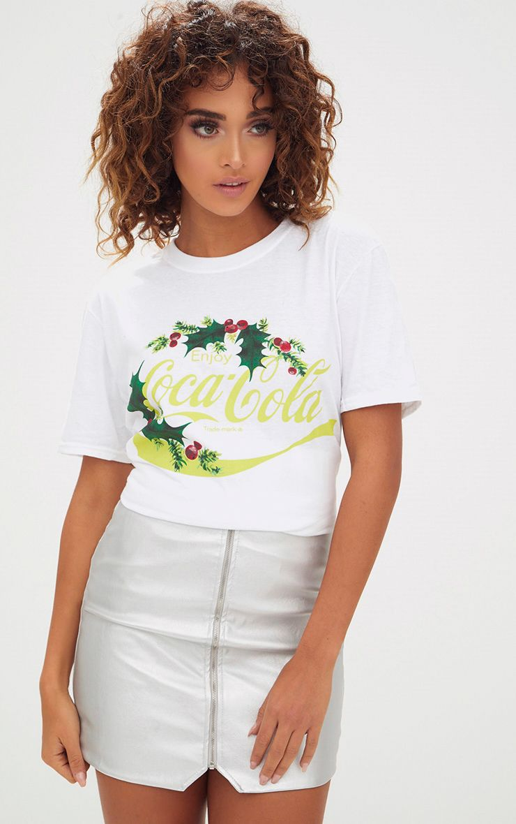 White Coca Cola License Holly Christmas Slogan T Shirt
