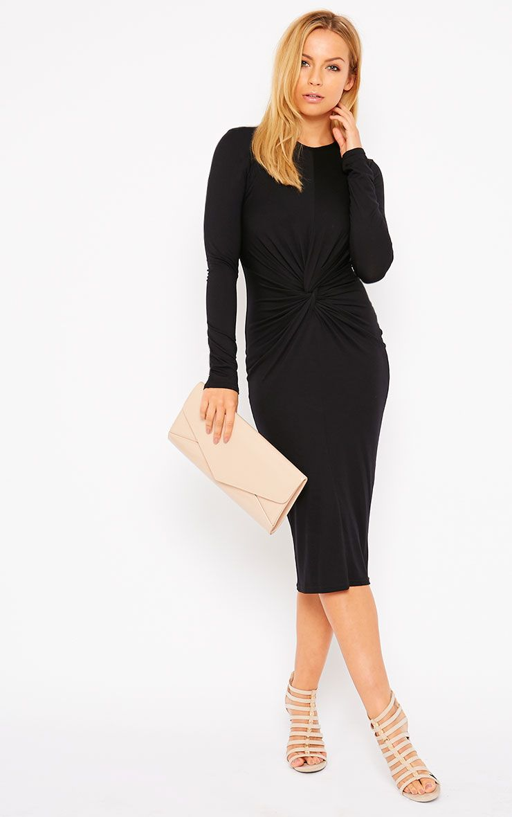 Kenna Black Knot Front Midi Dress 1