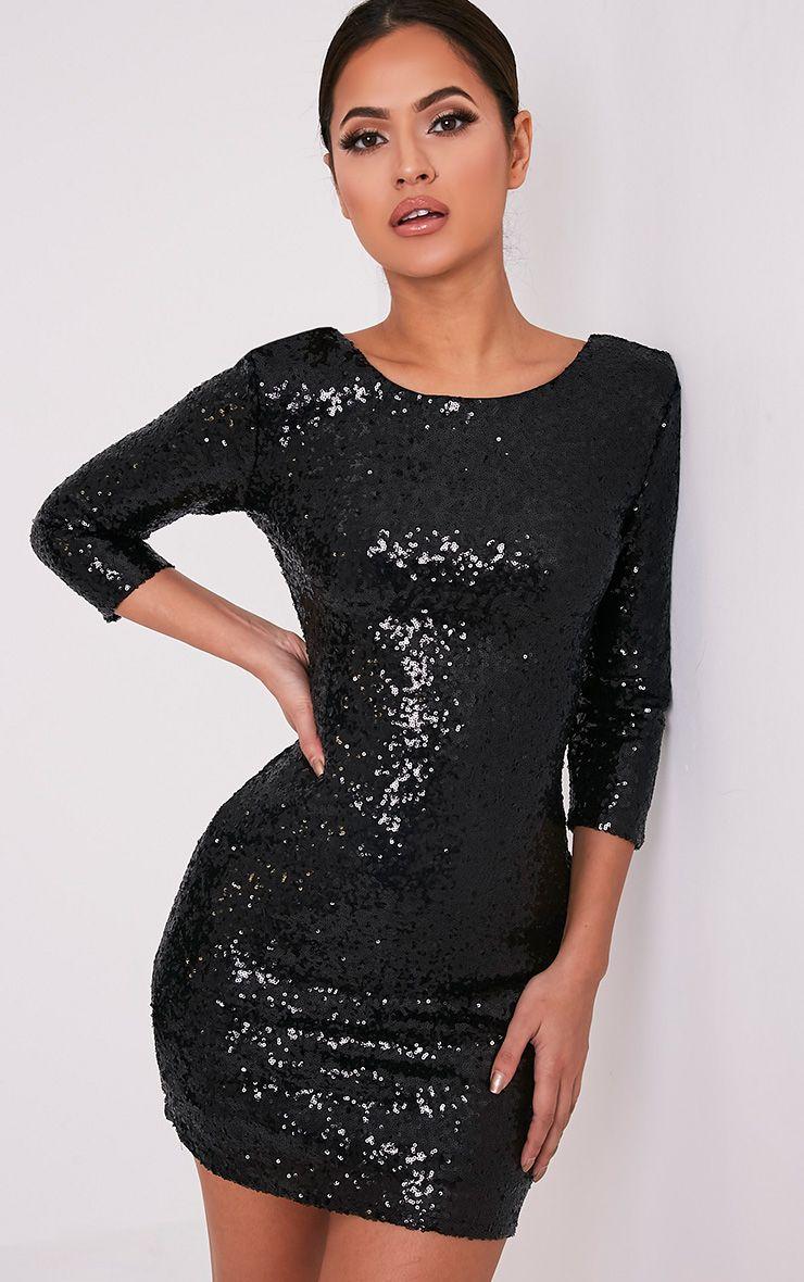 Eida Black Sequin Bodycon Dress
