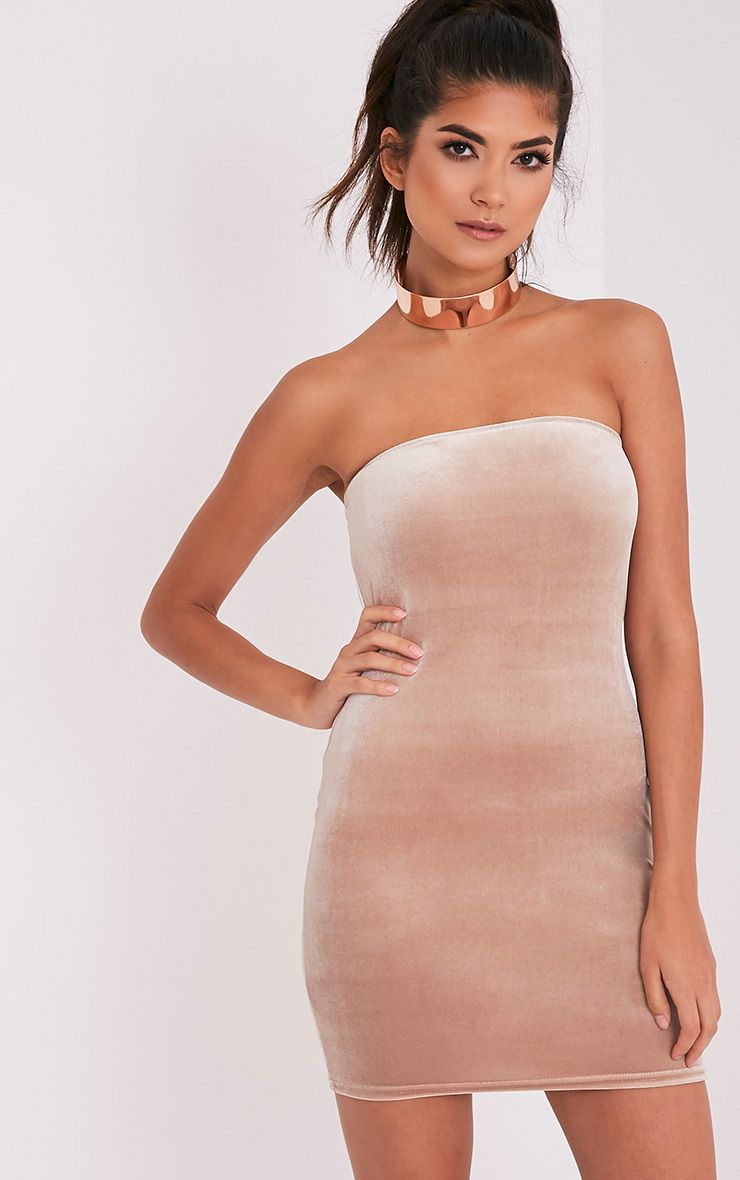Shany Champagne Velvet Bandeau Bodycon Dress