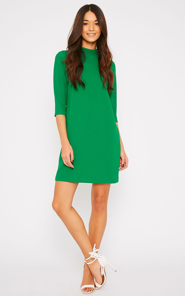 Nuna Green Crepe Turtle Neck Shift Dress 1