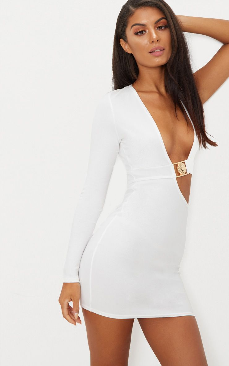 White One Sleeve Lion Buckle Cut Out Bodycon Dress