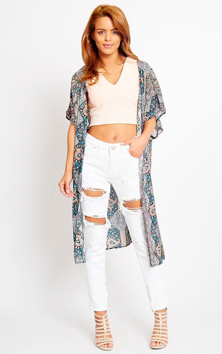 Safire Purple Paisley Short Sleeve Kimono 1