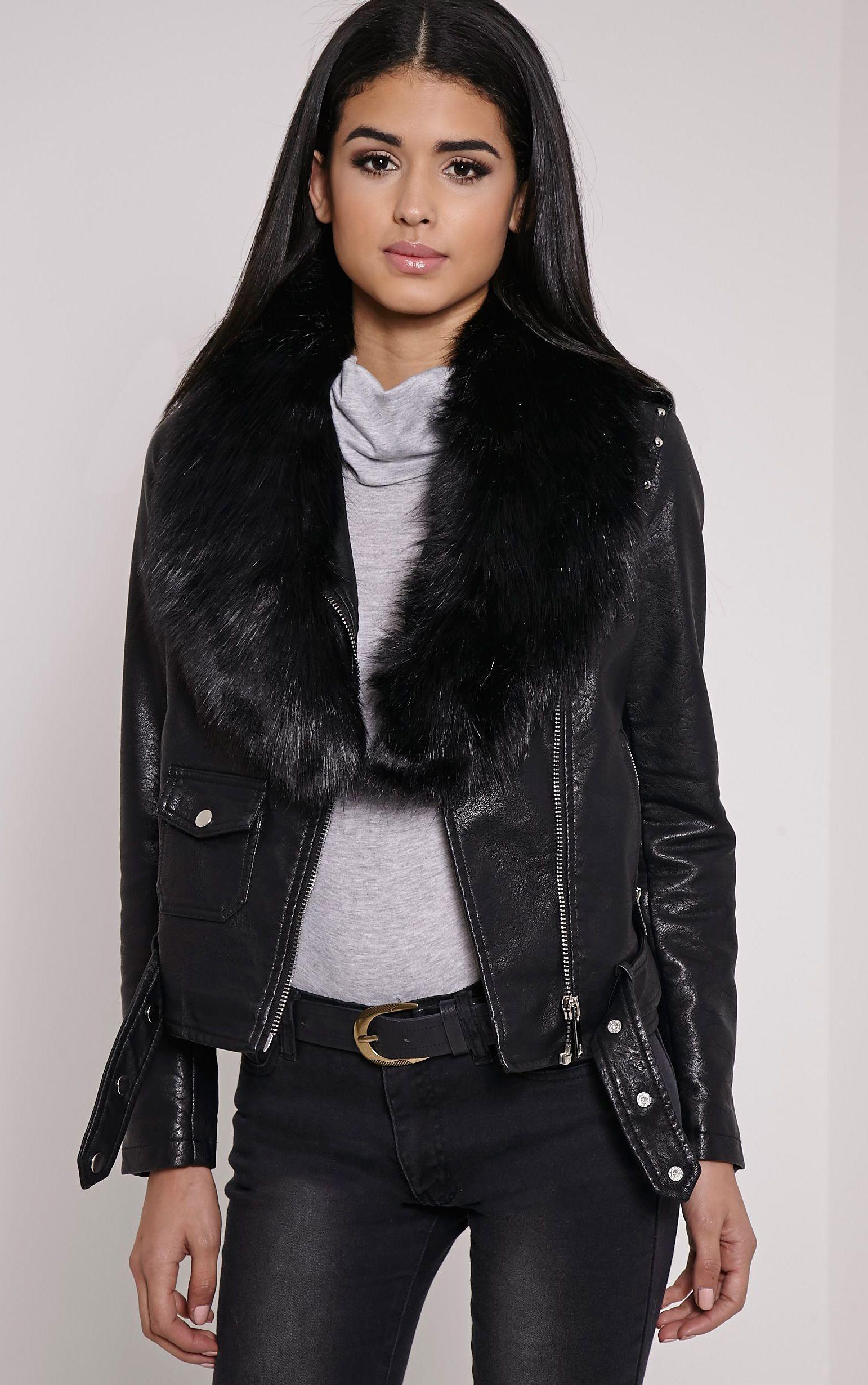Kira Black Faux Fur Collar Black