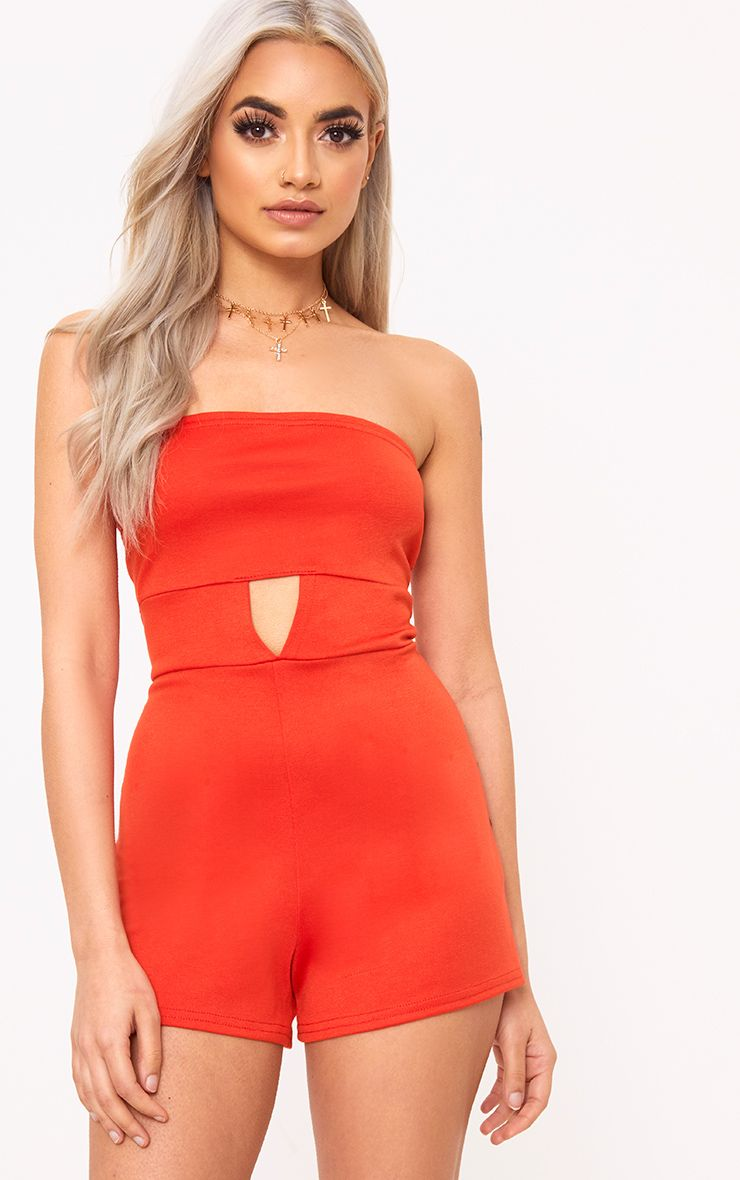 Orange Bandeau Open Middle Playsuit