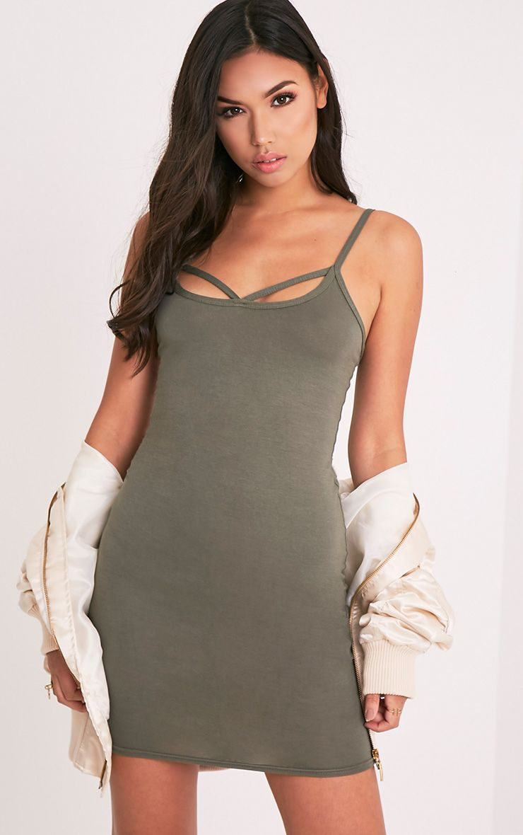 Chassa Khaki Strap Front Detail Bodycon Dress