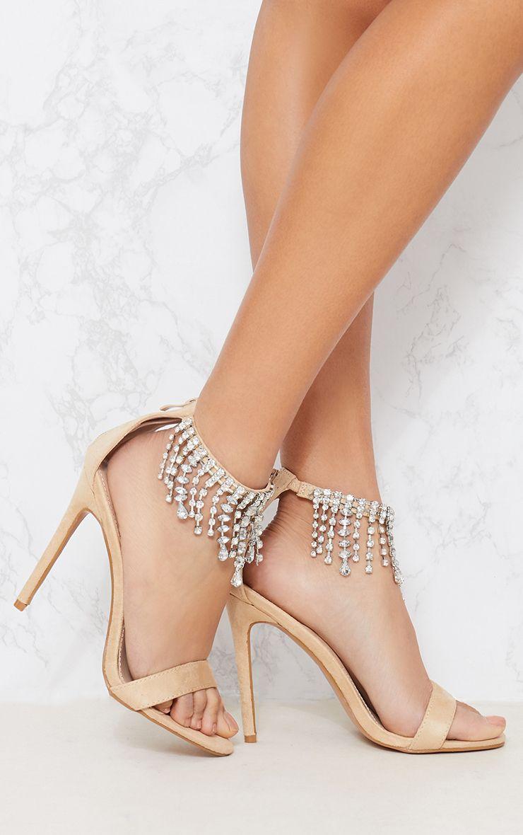 Nude Diamante Cuff Heeled Sandal