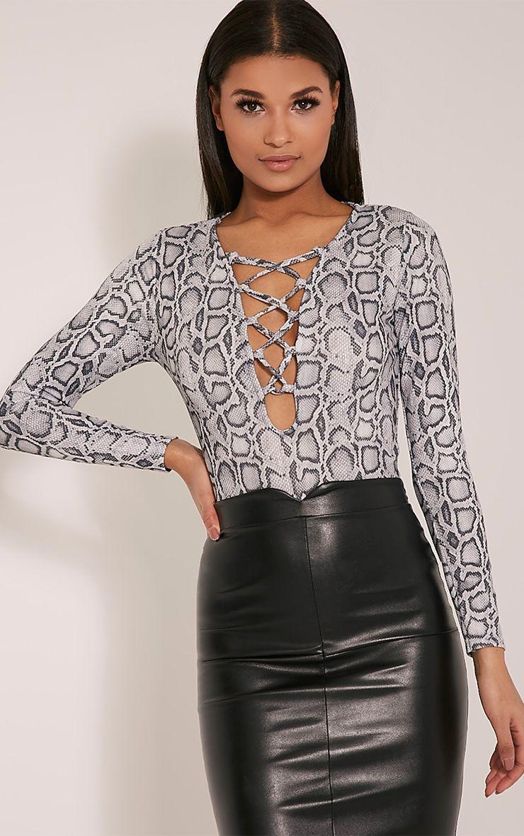 Caroline Grey Snakeskin Lace Up Thong Bodysuit 1