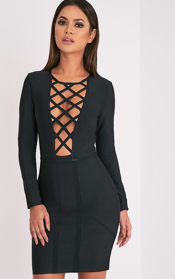 Livia Black Lattice Bandage Bodycon Dress
