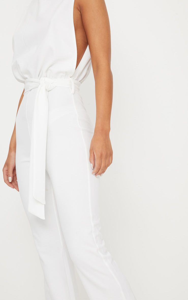 eb95ff67721f PrettyLittleThing White Scuba High Neck Tie Waist Jumpsuit at £25 ...