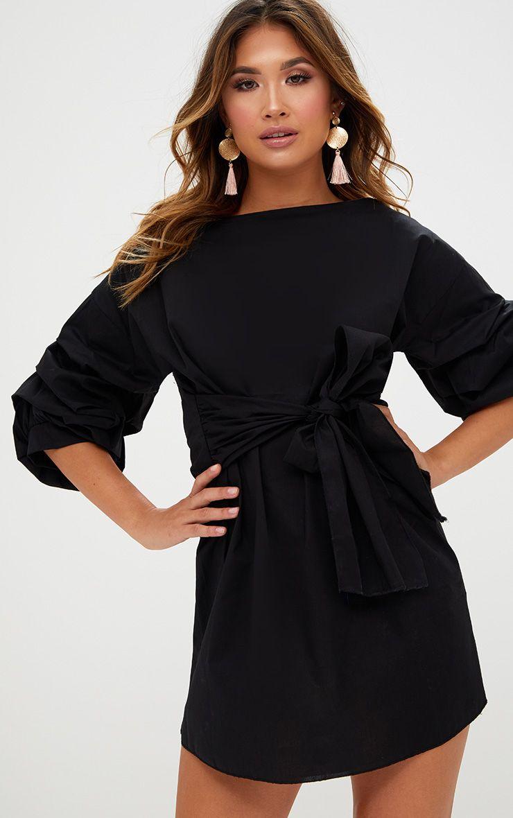 Black Oversized Ruffle Sleeve Shift Dress