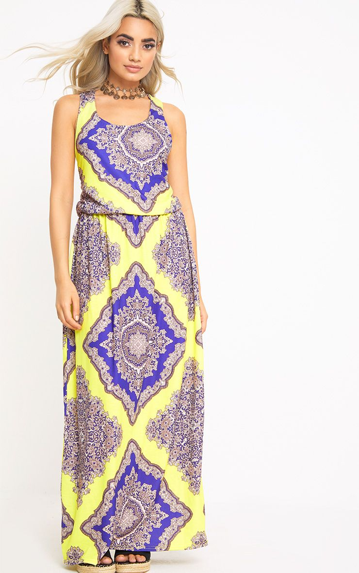 Yellow Scarf Print Bagged Over Maxi Dress
