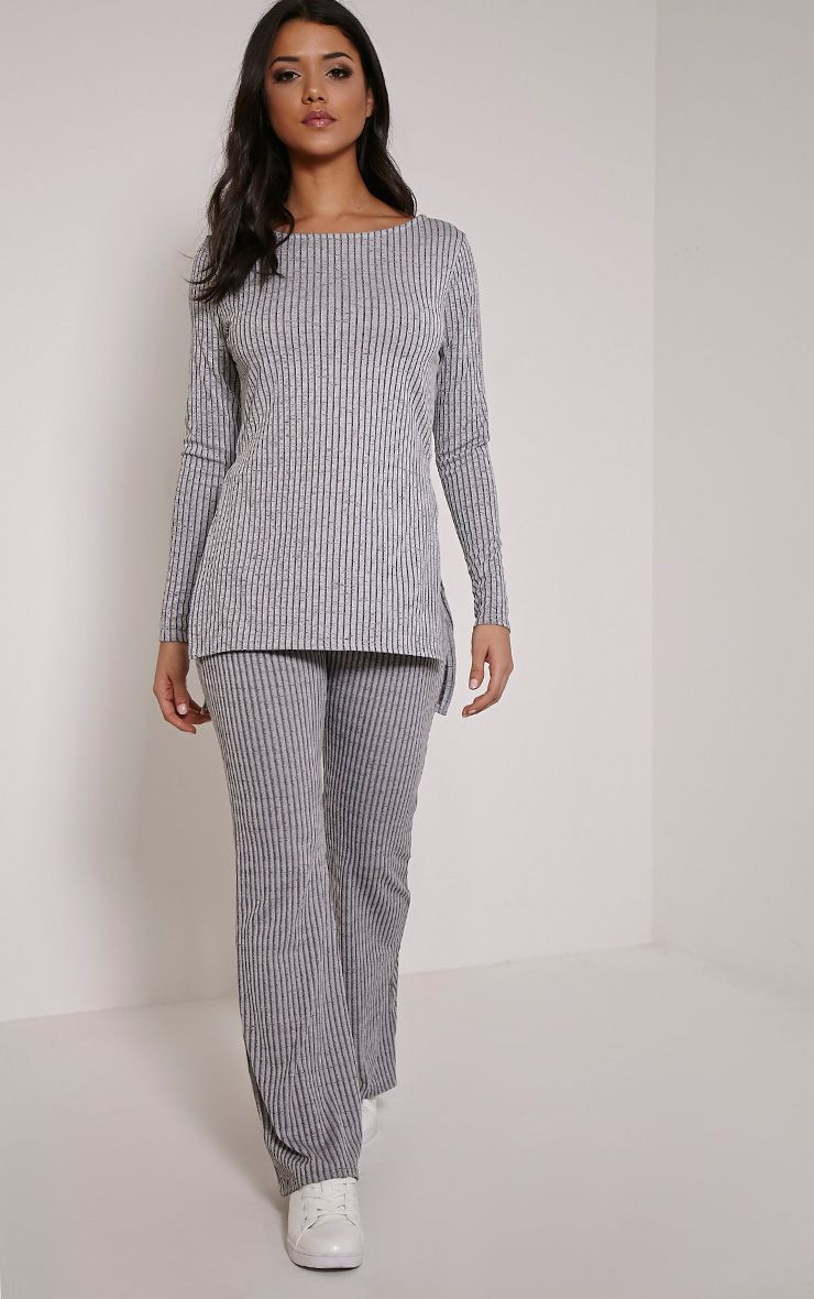 Anna Grey Ribbed Flared Trousers 1