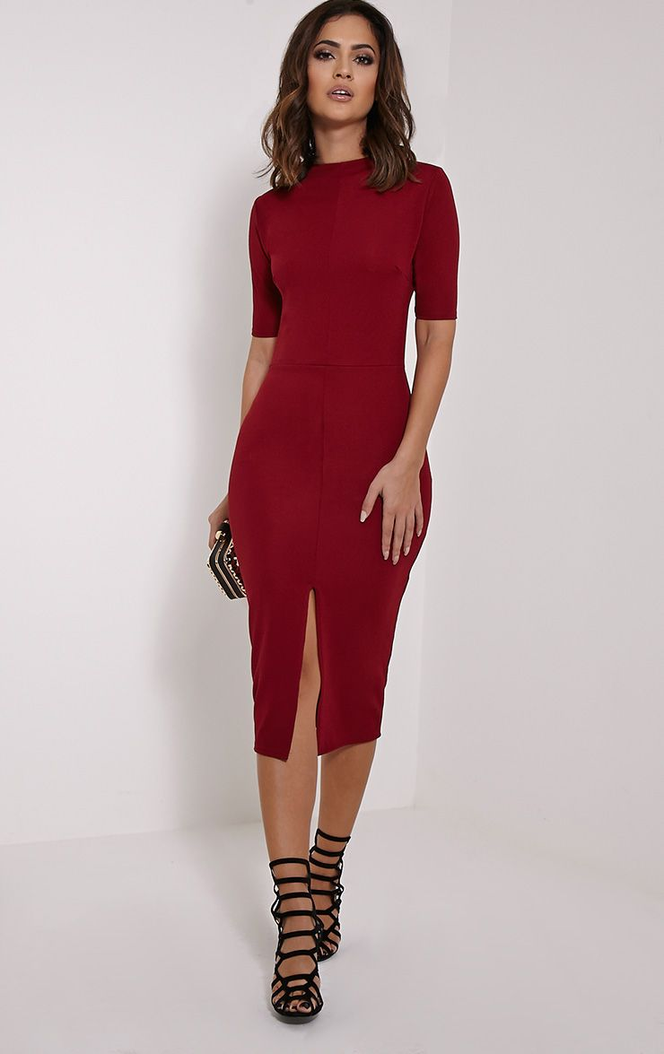 Sana Burgundy Crepe Split Front Midi Dress 1