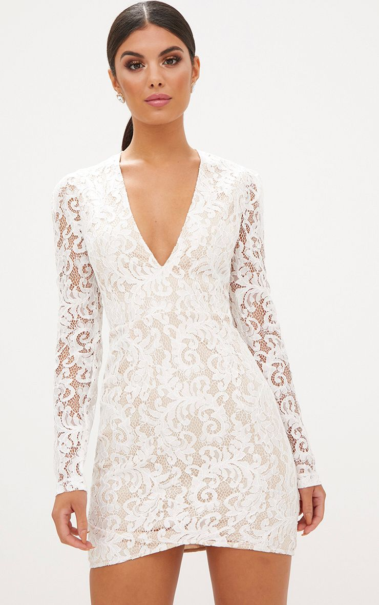 White Plunge Long Sleeved Lace Bodycon Dress