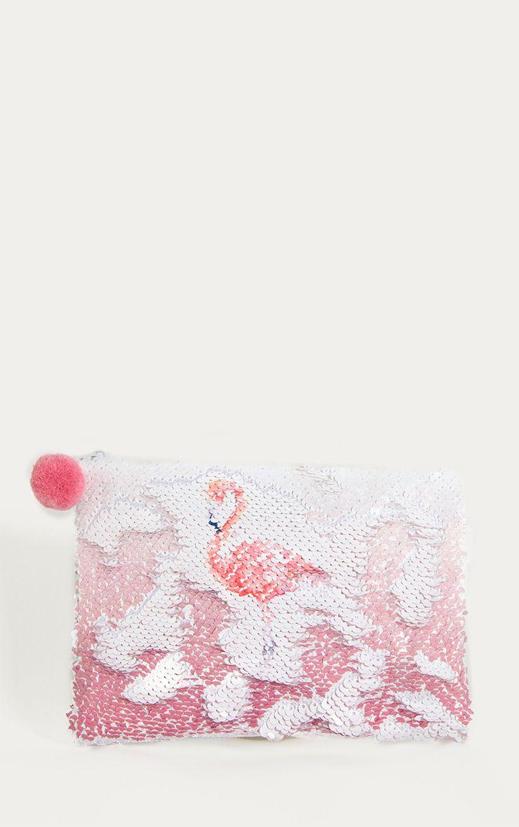 White Sequin Flamingo Make Up Bag 1