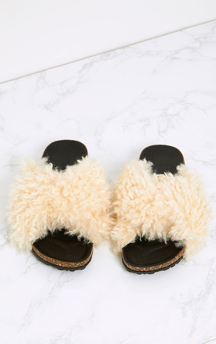 Fayah Cream Faux Shearling Sliders