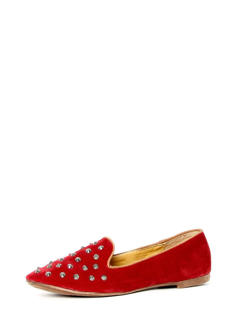 Harriet Red Studded Slipper Shoe 1