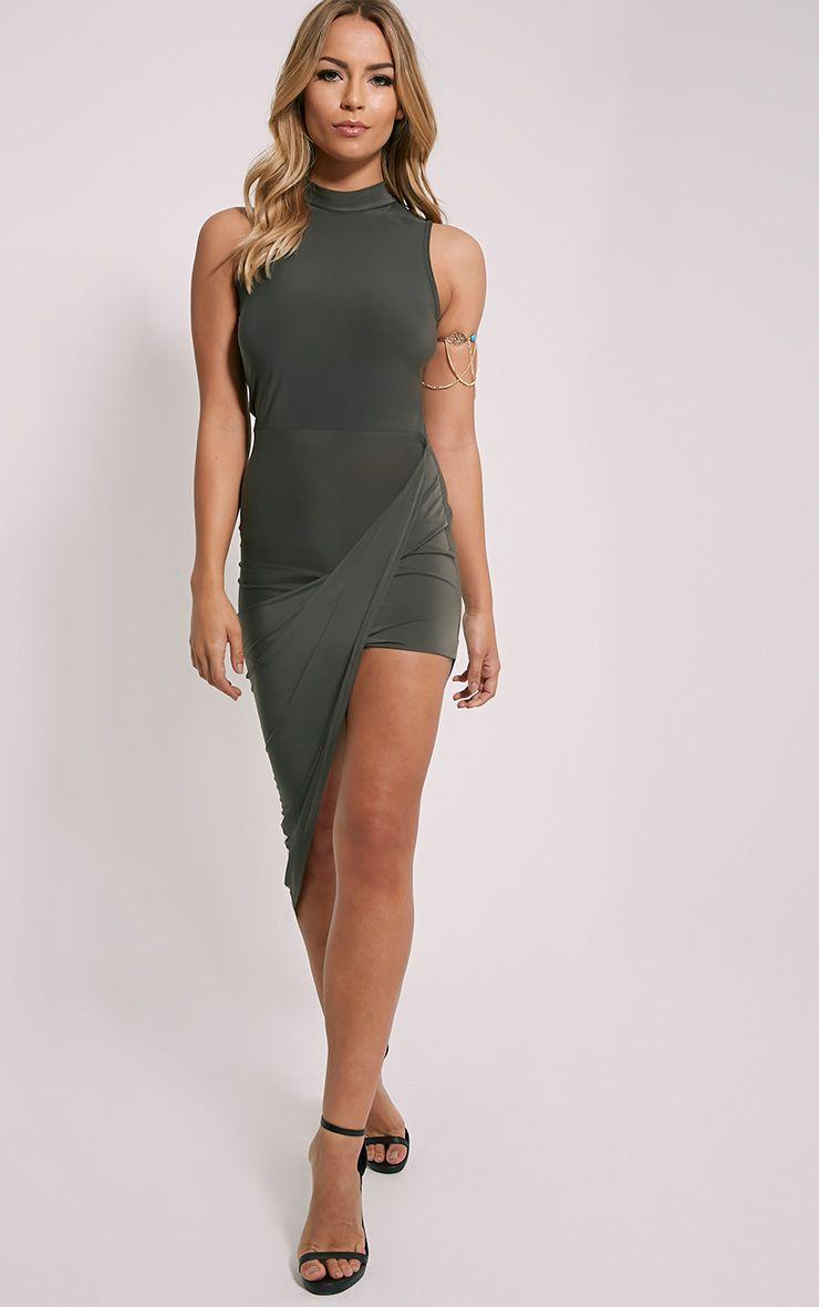 Prim Khaki Slinky Drape Asymmetric Dress 1