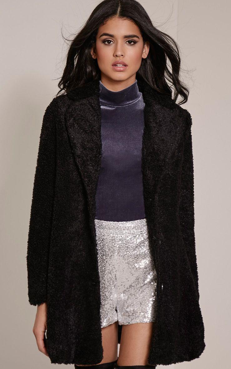 Louise Black Bobble Knitted Coat 1