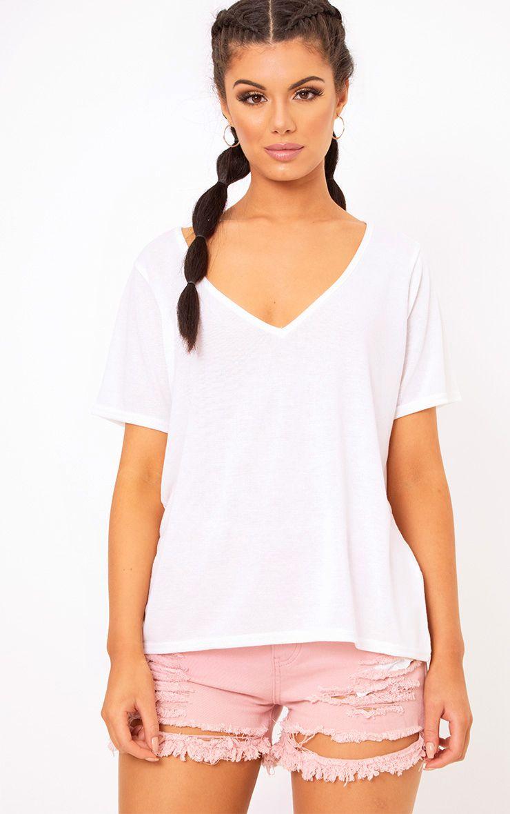 White Melange V Neck T Shirt