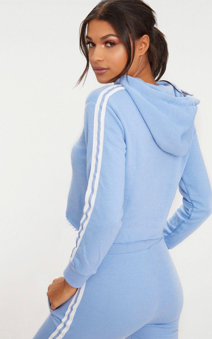 baby blue side stripe hoodie prettylittlething. Black Bedroom Furniture Sets. Home Design Ideas