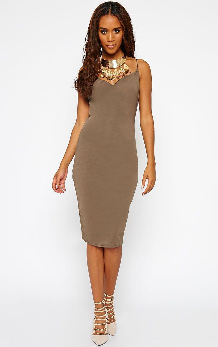 Saki Khaki Cowel Neck Dress 1