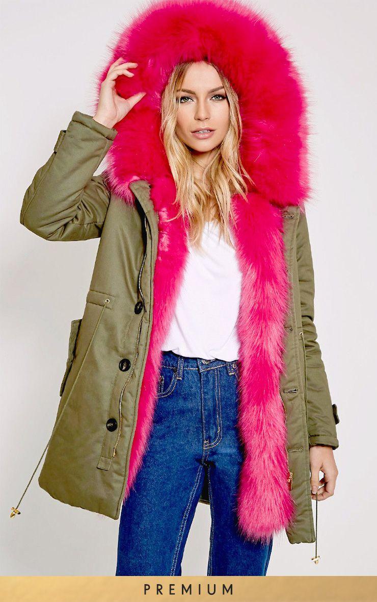 Jen Fuchsia Fur Lined Premium Parka 1