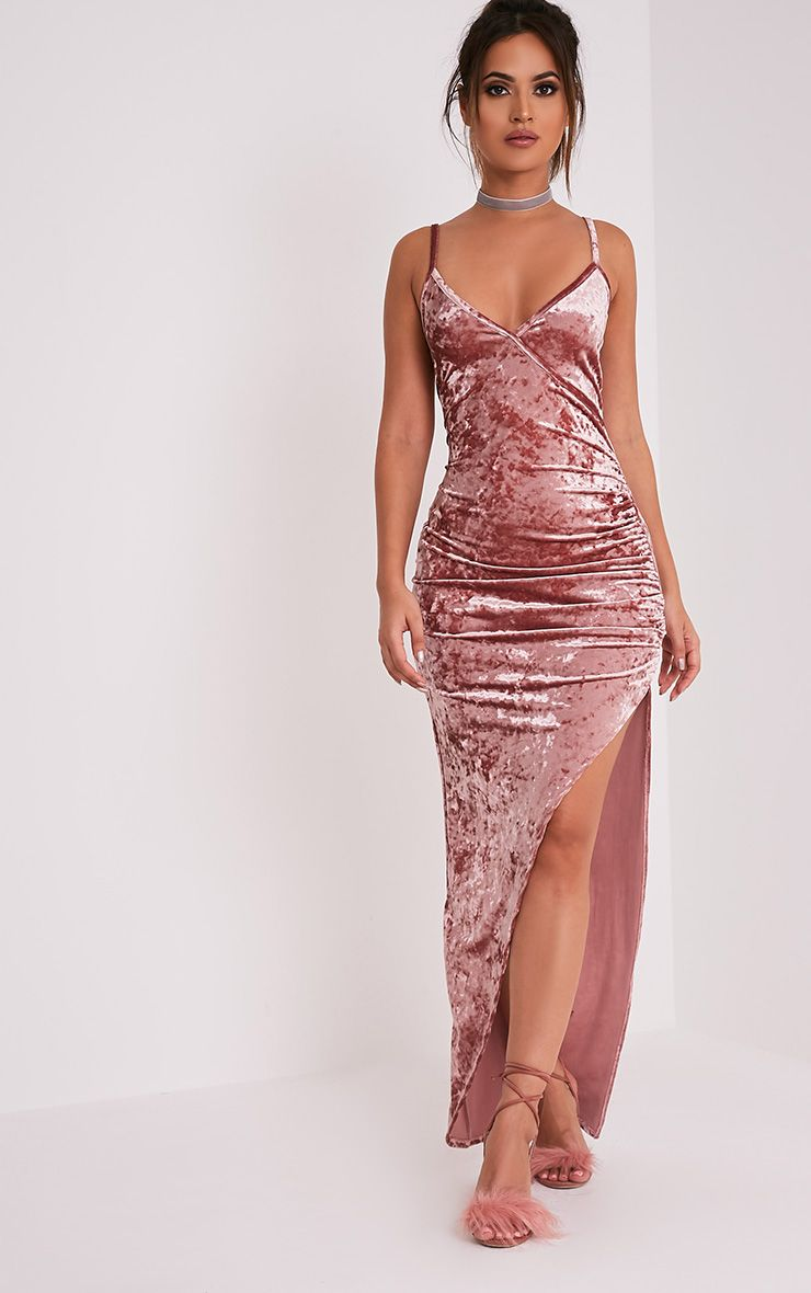 Sansia Pink Crushed Velvet Asymmetric Maxi Dress