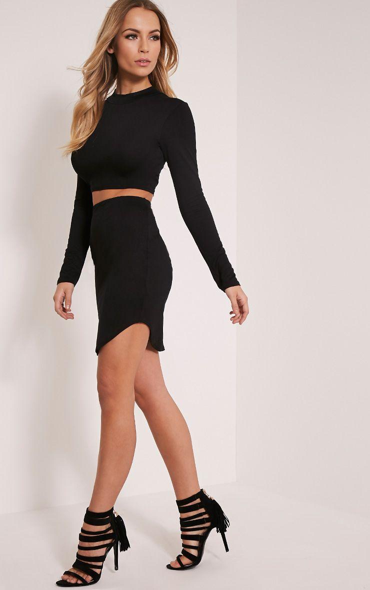 Ariana Black Curved Hem Mini Skirt 1