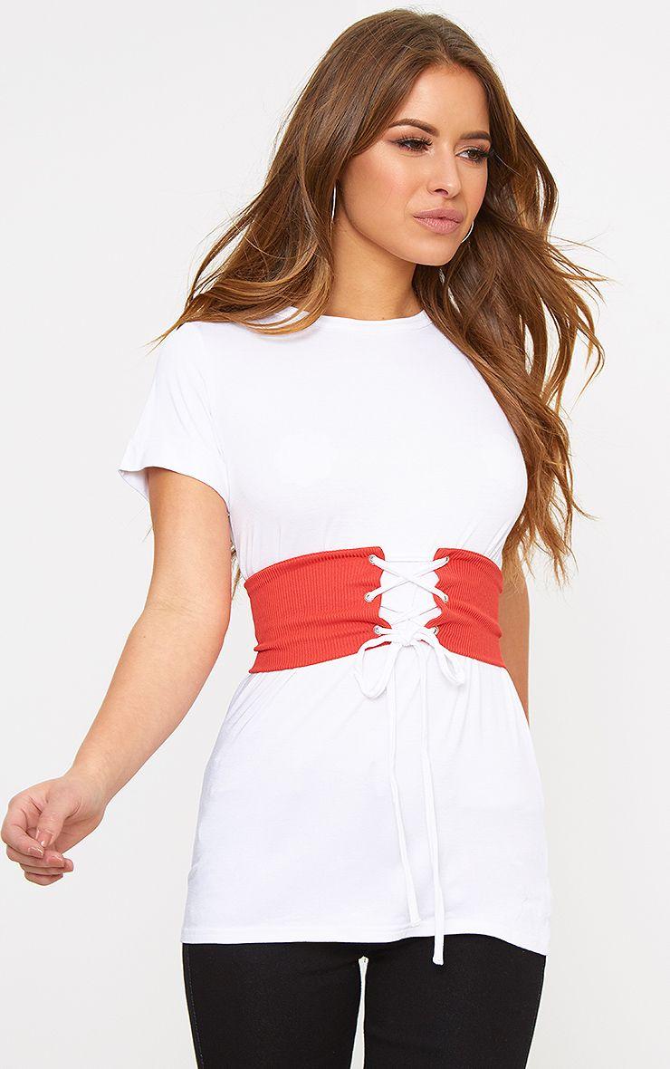 Petite White Jersey Corset T-Shirt