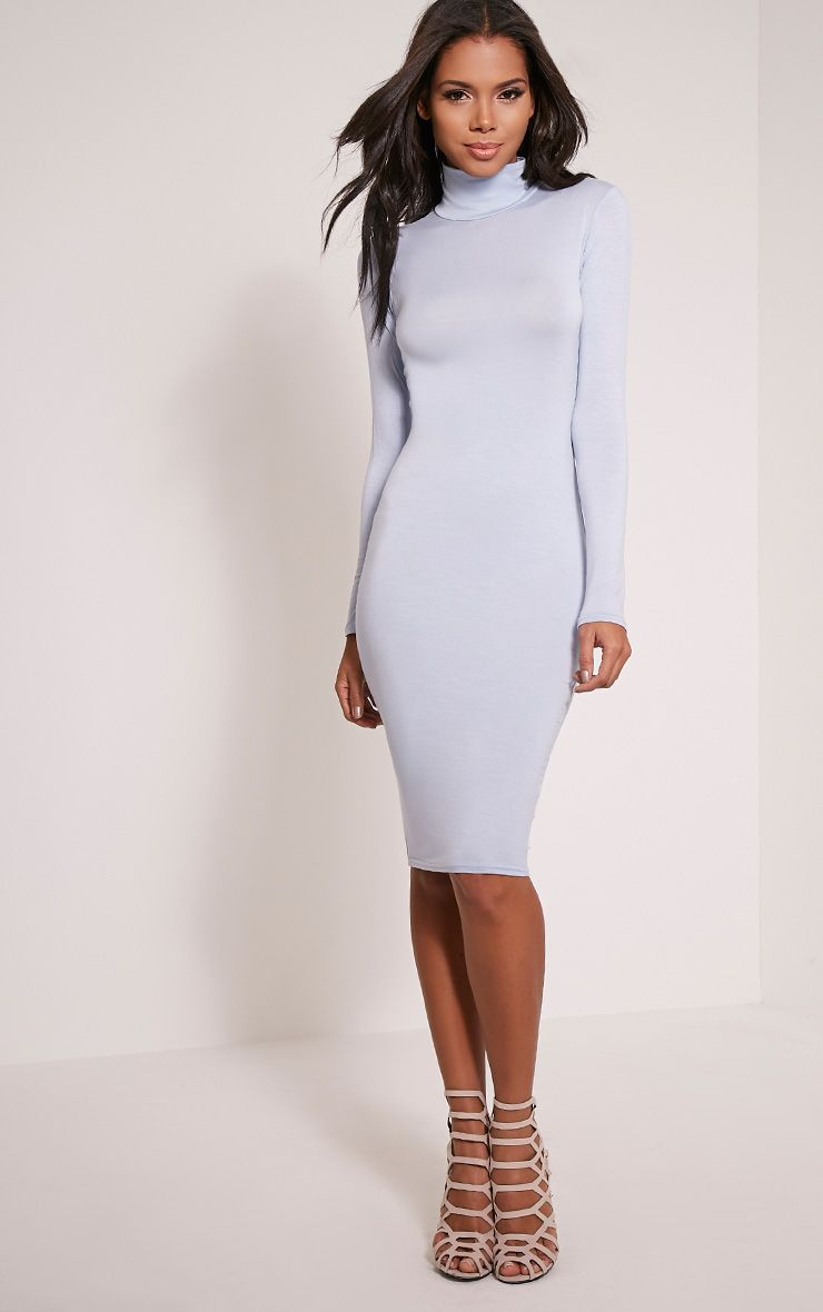 Basic Dusty Blue Roll Neck Midi Dress 1