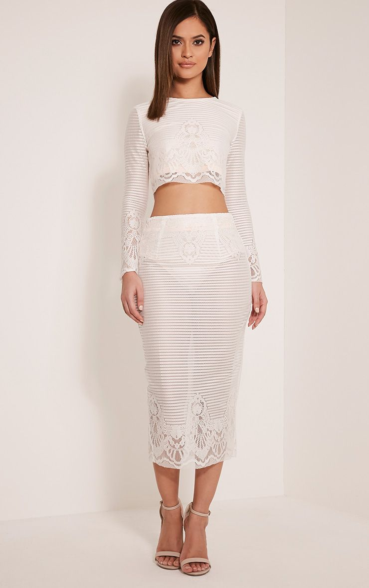 Robin White Stripe Lace Midi Skirt