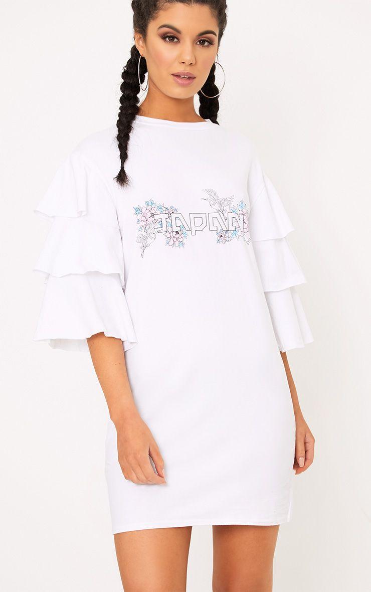 White Japan Frill Sleeve T Shirt Dress