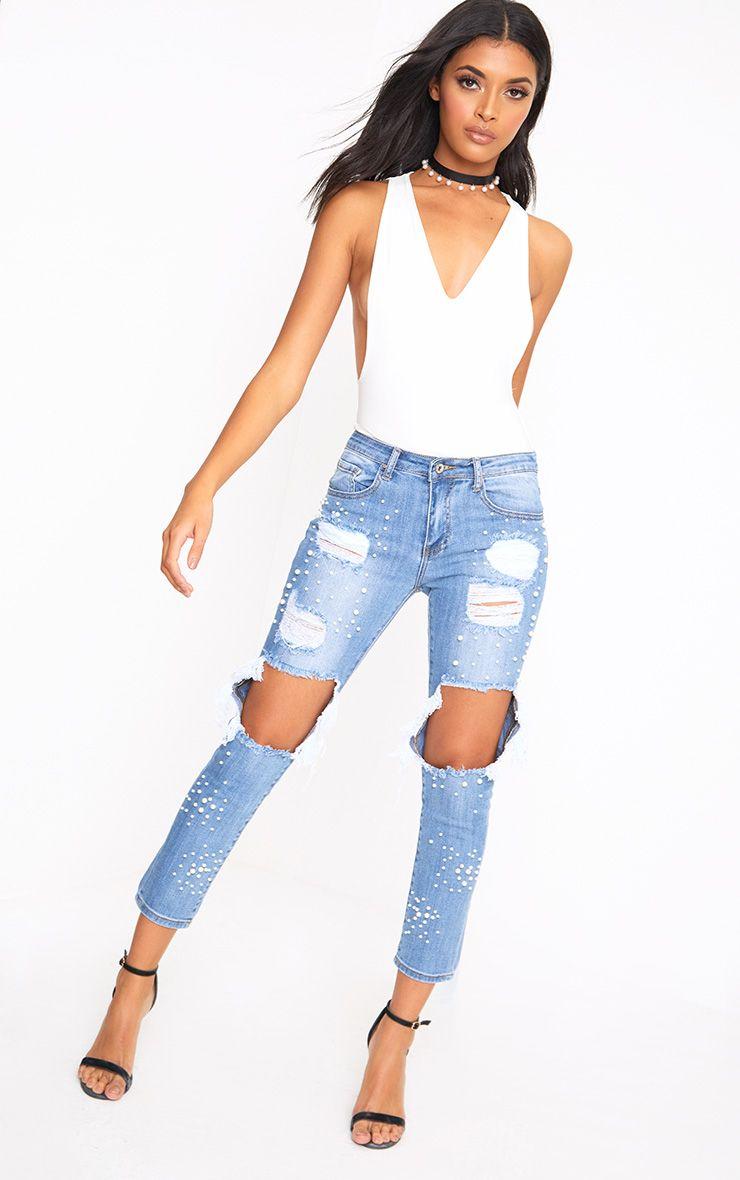 Mid Wash Pearl Ripped Skinny Jean