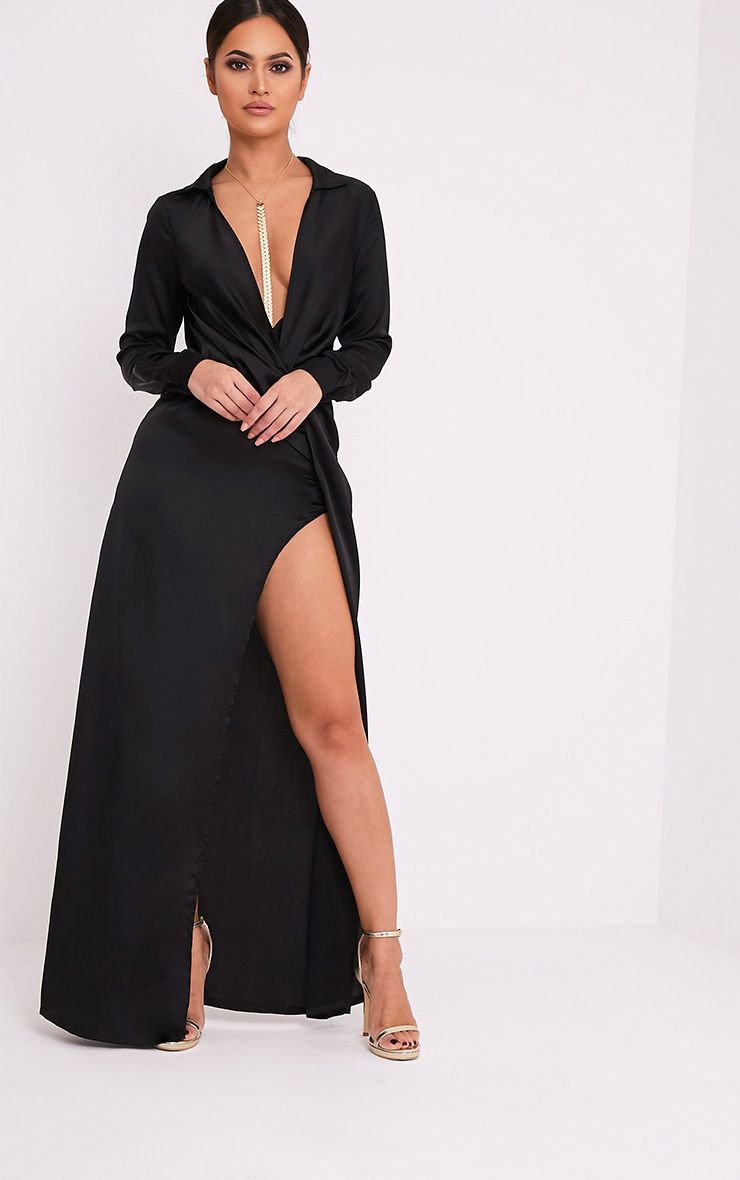 Alyssia Black Twist Front Maxi Shirt Dress