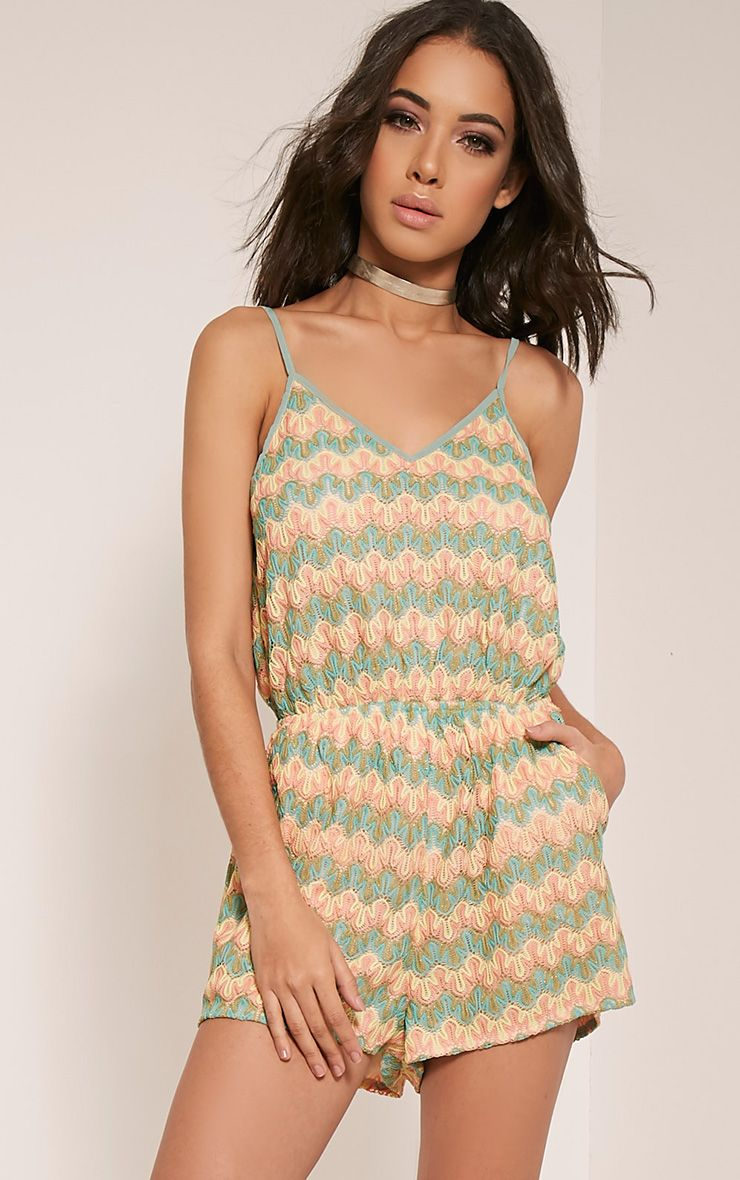 Ellouise Multi Coloured Zig Zag Playsuit 1