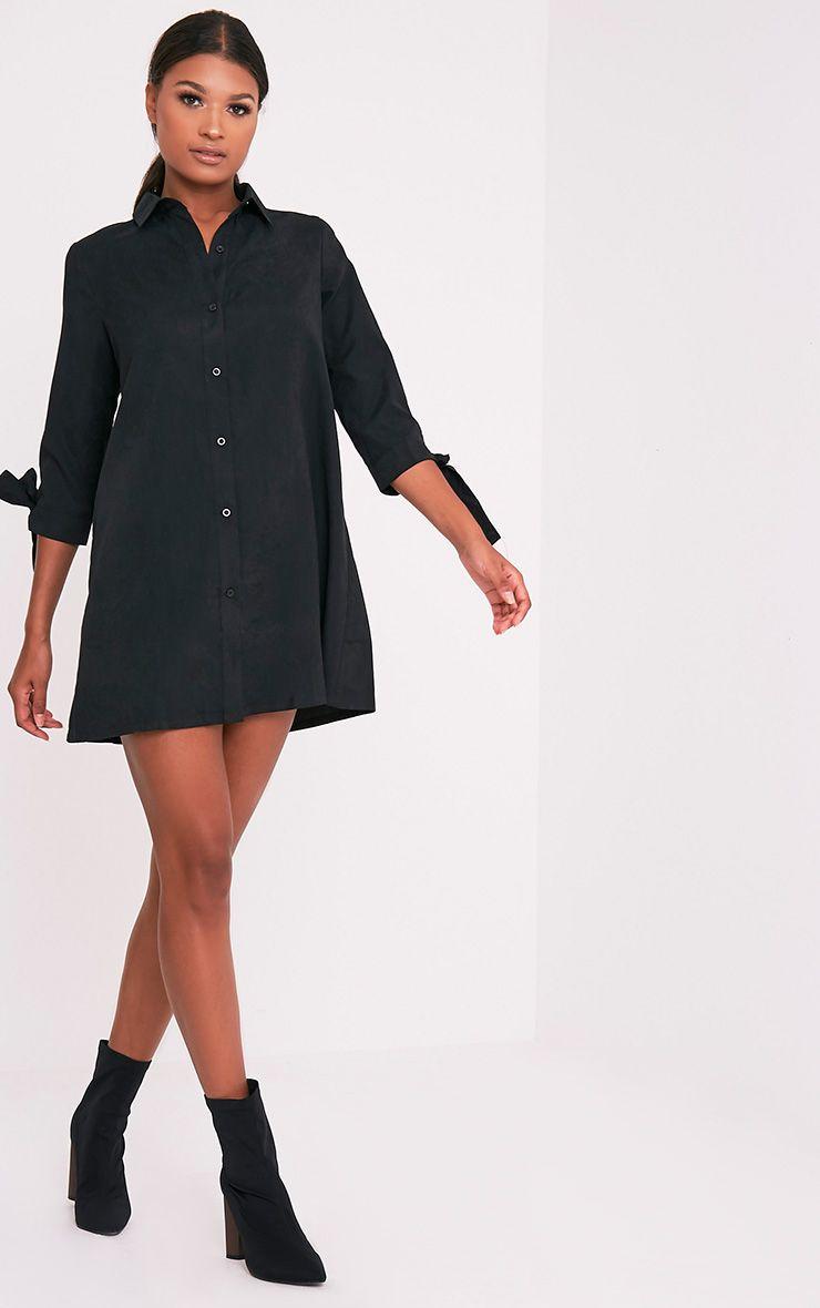 Maysia robe chemise détail manchettes noire 5