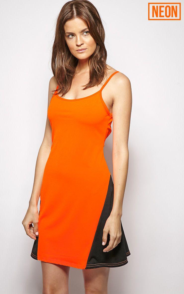 Kayla Orange Colour Block Swing Dress  1